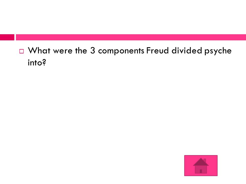  What were the 3 components Freud divided psyche into