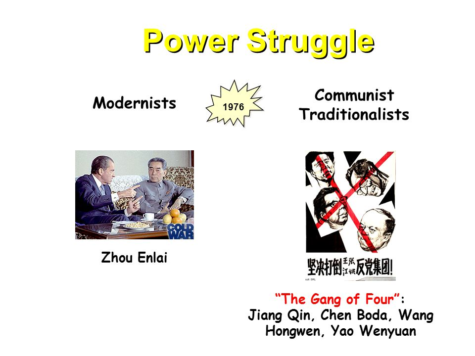 Power Struggle Modernists Communist Traditionalists Zhou Enlai The Gang of Four : Jiang Qin, Chen Boda, Wang Hongwen, Yao Wenyuan 1976