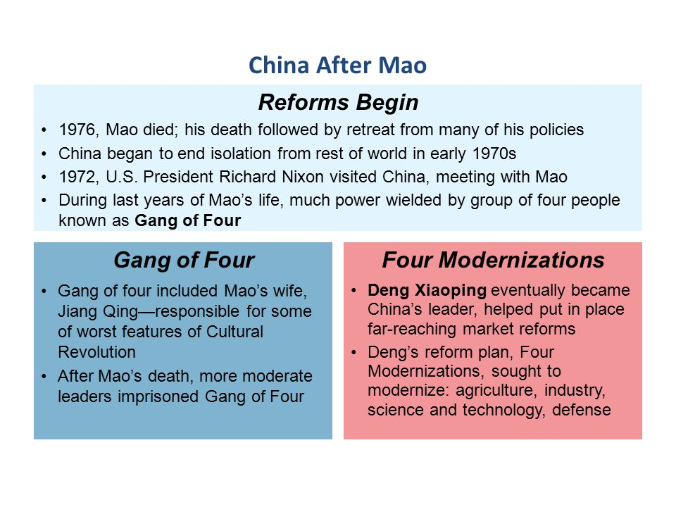 Reforms Begin 1976, Mao died; his death followed by retreat from many of his policies China began to end isolation from rest of world in early 1970s 1972, U.S.