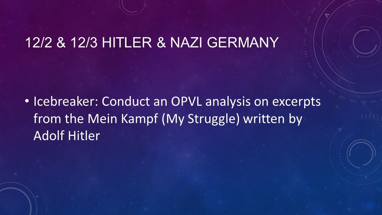 12/2 & 12/3 HITLER & NAZI GERMANY Icebreaker: Conduct an OPVL analysis on excerpts from the Mein Kampf (My Struggle) written by Adolf Hitler