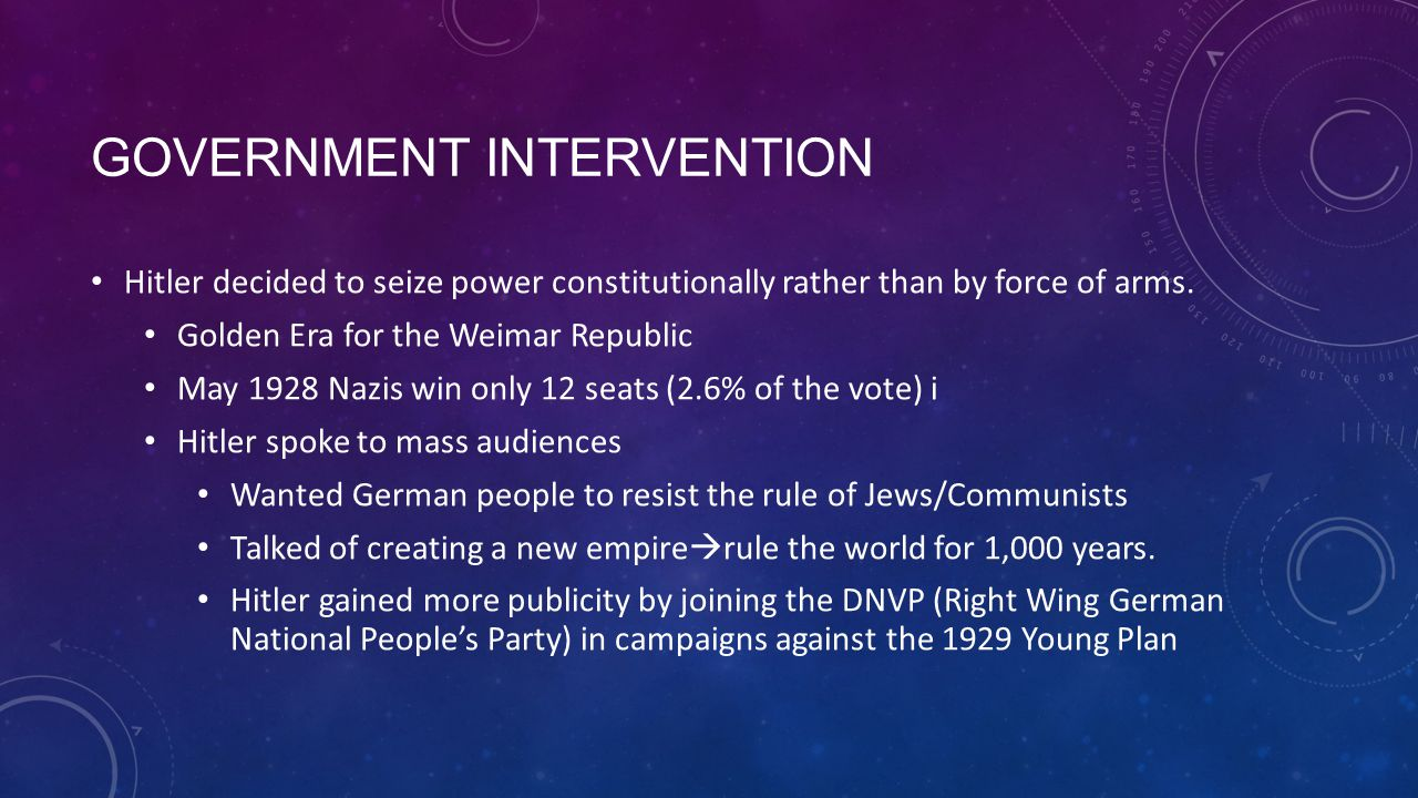 GOVERNMENT INTERVENTION Hitler decided to seize power constitutionally rather than by force of arms. Golden Era for the Weimar Republic May 1928 Nazis