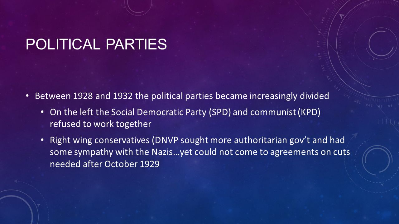 POLITICAL PARTIES Between 1928 and 1932 the political parties became increasingly divided On the left the Social Democratic Party (SPD) and communist