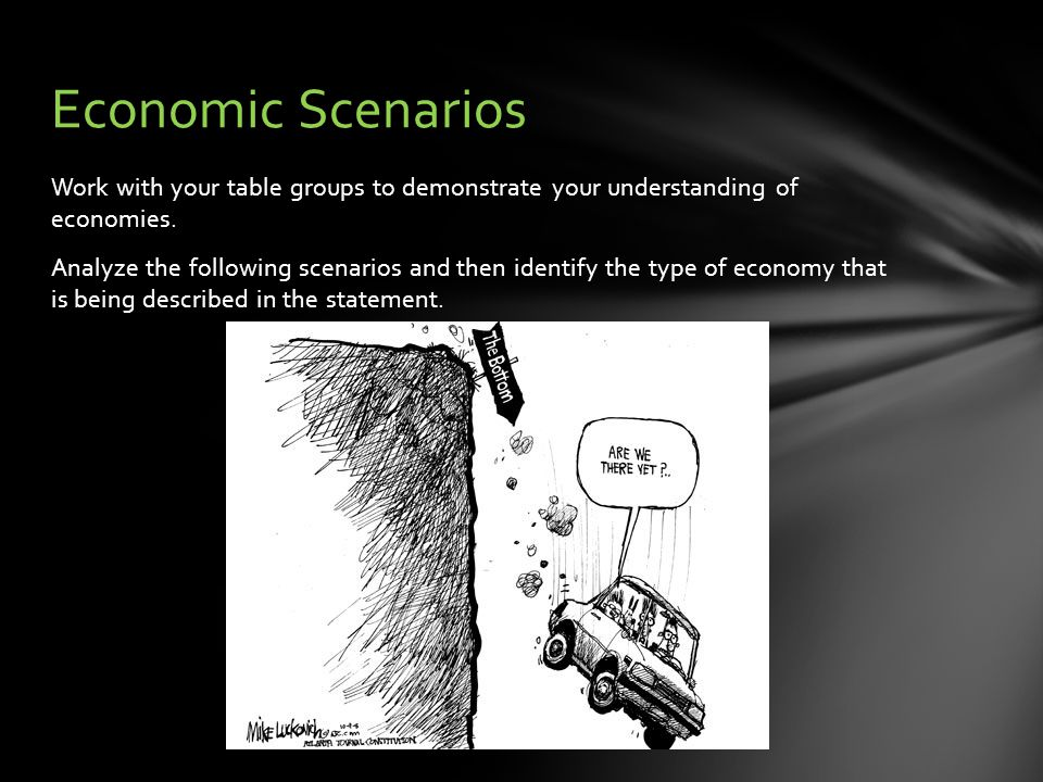 Work with your table groups to demonstrate your understanding of economies.