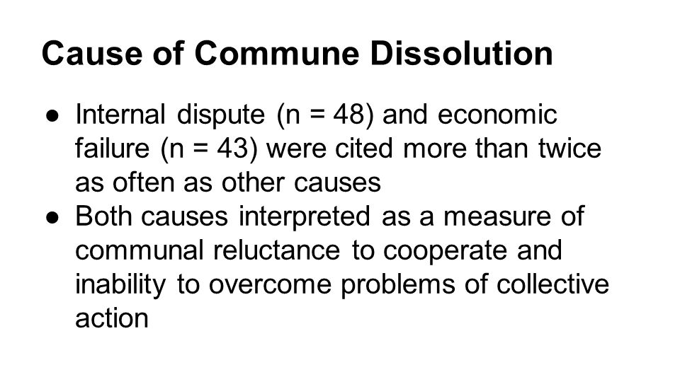 Cause of Commune Dissolution ●Internal dispute (n = 48) and economic failure (n = 43) were cited more than twice as often as other causes ●Both causes interpreted as a measure of communal reluctance to cooperate and inability to overcome problems of collective action