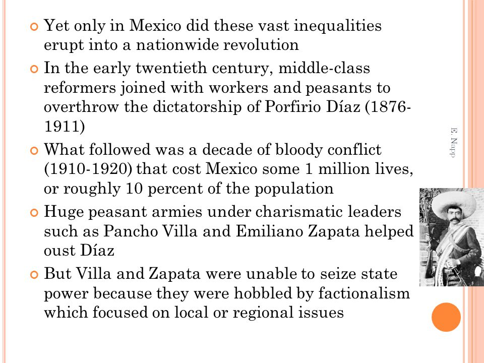 Yet only in Mexico did these vast inequalities erupt into a nationwide revolution In the early twentieth century, middle-class reformers joined with w