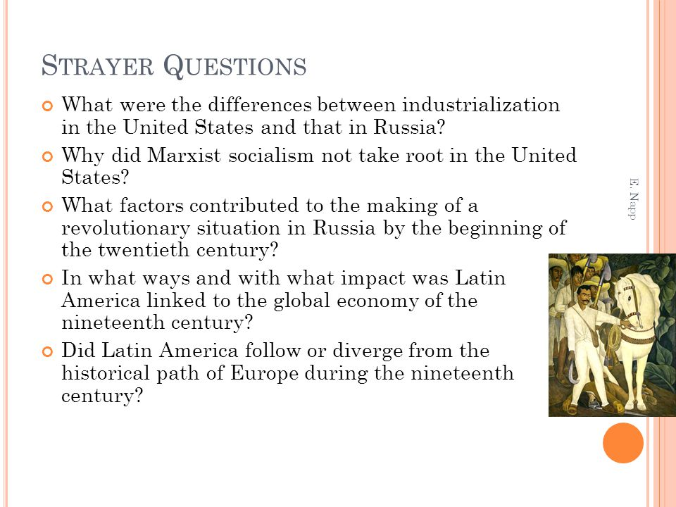 S TRAYER Q UESTIONS What were the differences between industrialization in the United States and that in Russia? Why did Marxist socialism not take ro