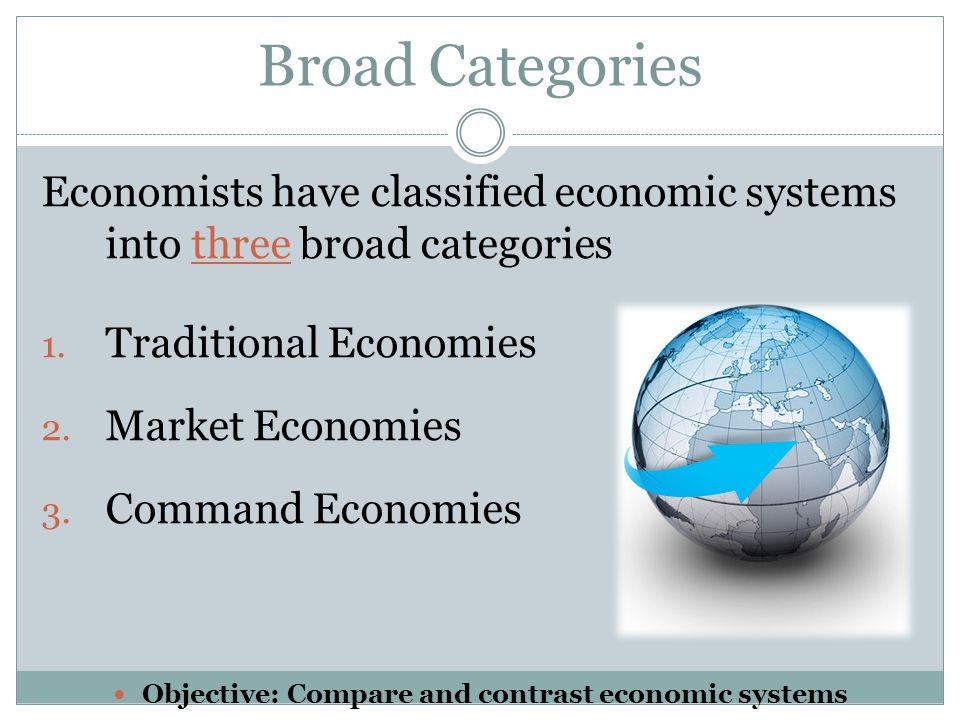 Broad Categories Economists have classified economic systems into three broad categories 1. Traditional Economies 2. Market Economies 3. Command Econo