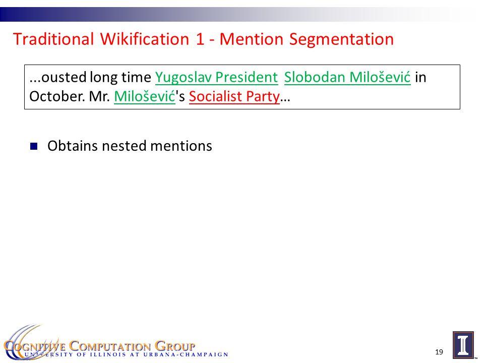 Traditional Wikification 1 - Mention Segmentation 19...ousted long time Yugoslav President Slobodan Milošević in October.