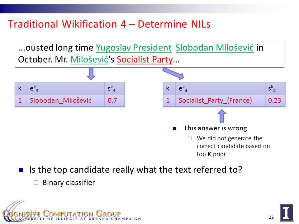 Traditional Wikification 4 – Determine NILs 22...ousted long time Yugoslav President Slobodan Milošević in October.