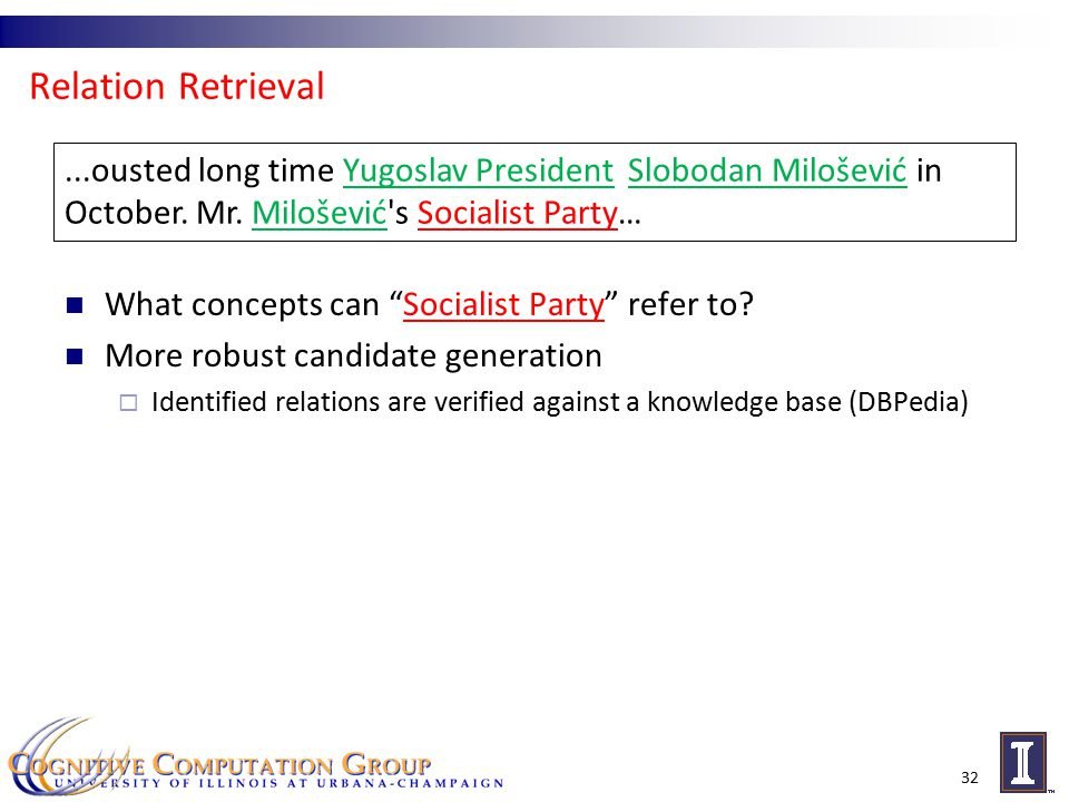 Relation Retrieval What concepts can Socialist Party refer to.
