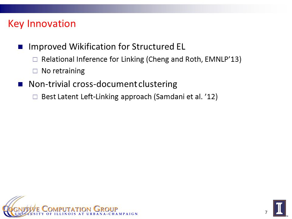 Key Innovation Improved Wikification for Structured EL  Relational Inference for Linking (Cheng and Roth, EMNLP'13)  No retraining Non-trivial cross-document clustering  Best Latent Left-Linking approach (Samdani et al.