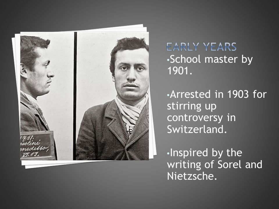 School master by 1901. Arrested in 1903 for stirring up controversy in Switzerland. Inspired by the writing of Sorel and Nietzsche.