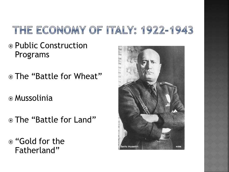 " Public Construction Programs  The ""Battle for Wheat""  Mussolinia  The ""Battle for Land""  ""Gold for the Fatherland"""