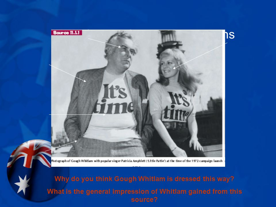 Source Study: Photographs Why do you think Gough Whitlam is dressed this way.