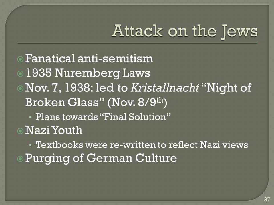  Fanatical anti-semitism  1935 Nuremberg Laws  Nov.