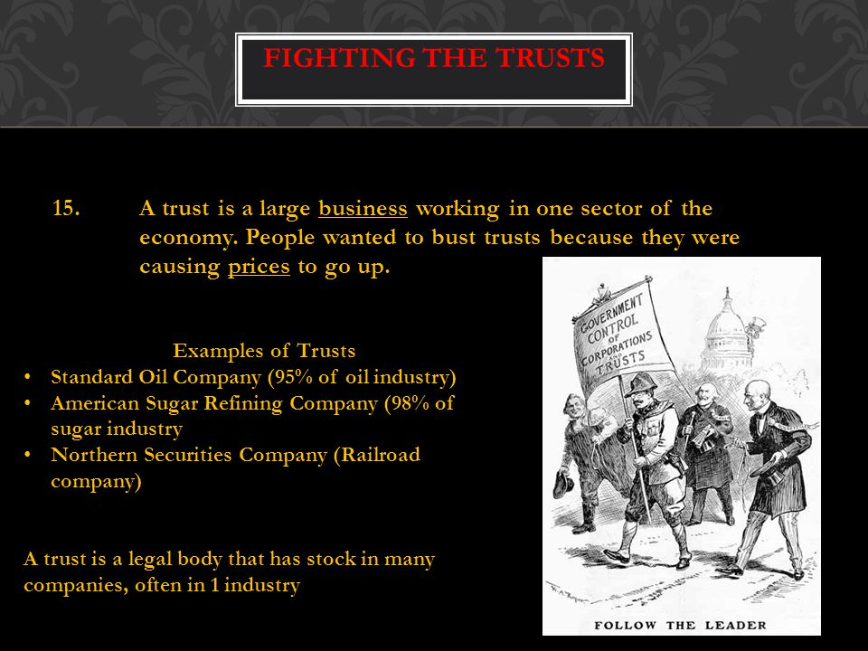 15.A trust is a large business working in one sector of the economy.
