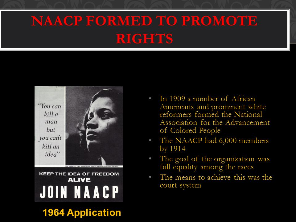 NAACP FORMED TO PROMOTE RIGHTS In 1909 a number of African Americans and prominent white reformers formed the National Association for the Advancement of Colored People The NAACP had 6,000 members by 1914 The goal of the organization was full equality among the races The means to achieve this was the court system 1964 Application