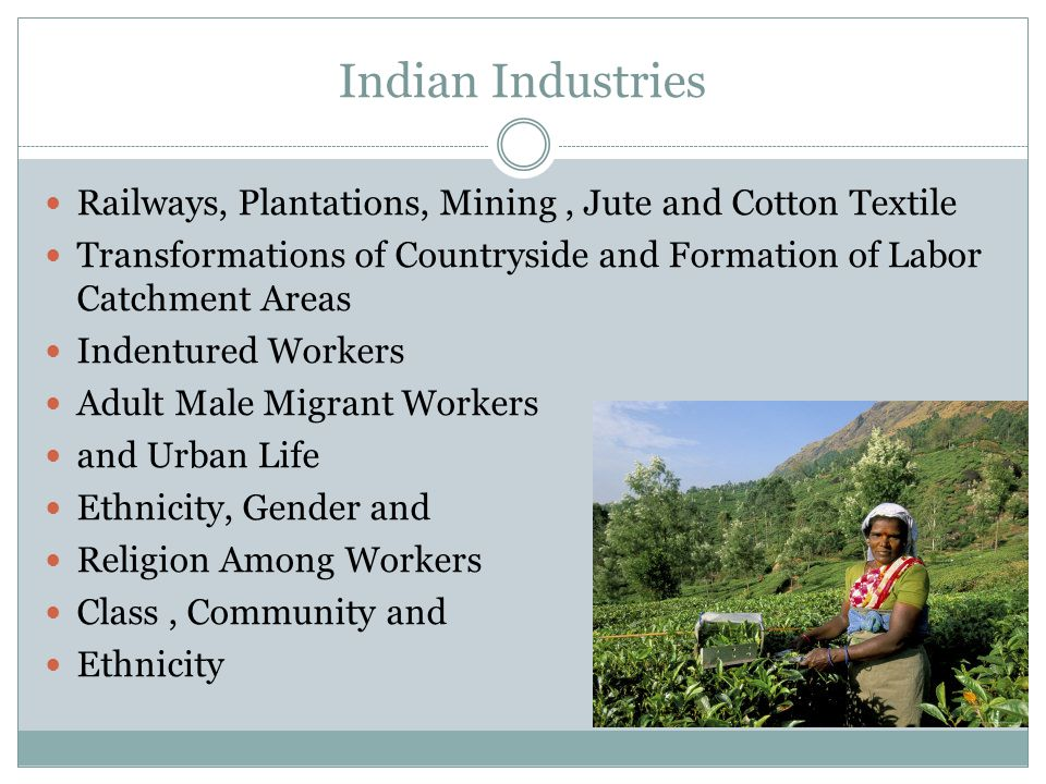 Indian Industries Railways, Plantations, Mining, Jute and Cotton Textile Transformations of Countryside and Formation of Labor Catchment Areas Indentured Workers Adult Male Migrant Workers and Urban Life Ethnicity, Gender and Religion Among Workers Class, Community and Ethnicity