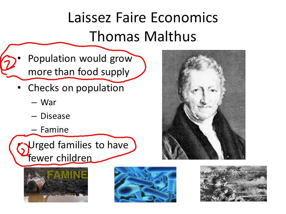 Laissez Faire Economics Thomas Malthus Population would grow more than food supply Checks on population – War – Disease – Famine Urged families to hav