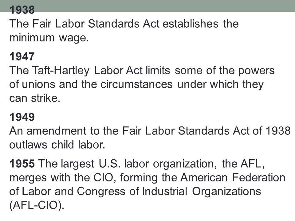 1938 The Fair Labor Standards Act establishes the minimum wage.