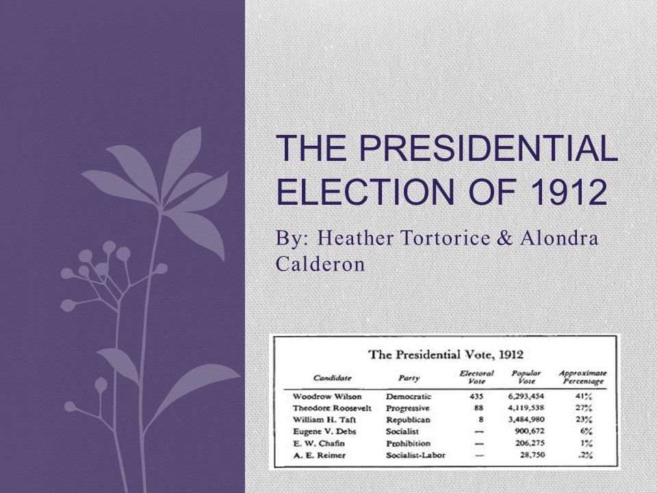 By: Heather Tortorice & Alondra Calderon THE PRESIDENTIAL ELECTION OF 1912