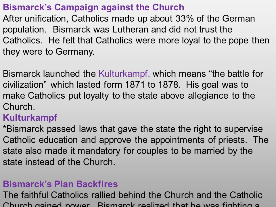Bismarck's Campaign against the Socialists Bismarck also saw a threat in the growing power of socialism.