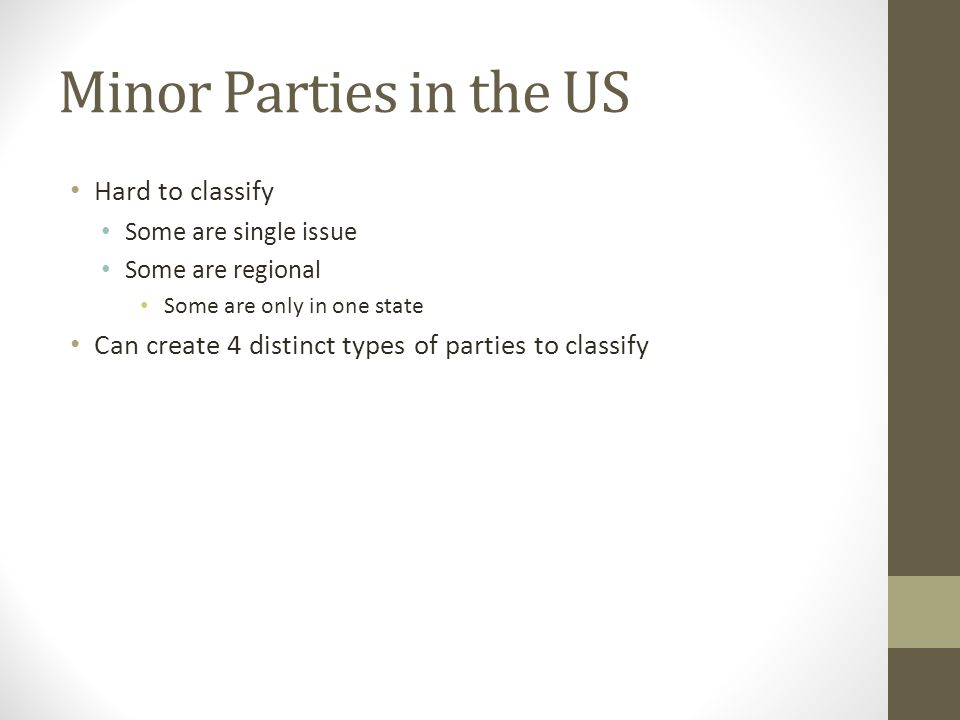 Minor Parties in the US Hard to classify Some are single issue Some are regional Some are only in one state Can create 4 distinct types of parties to classify