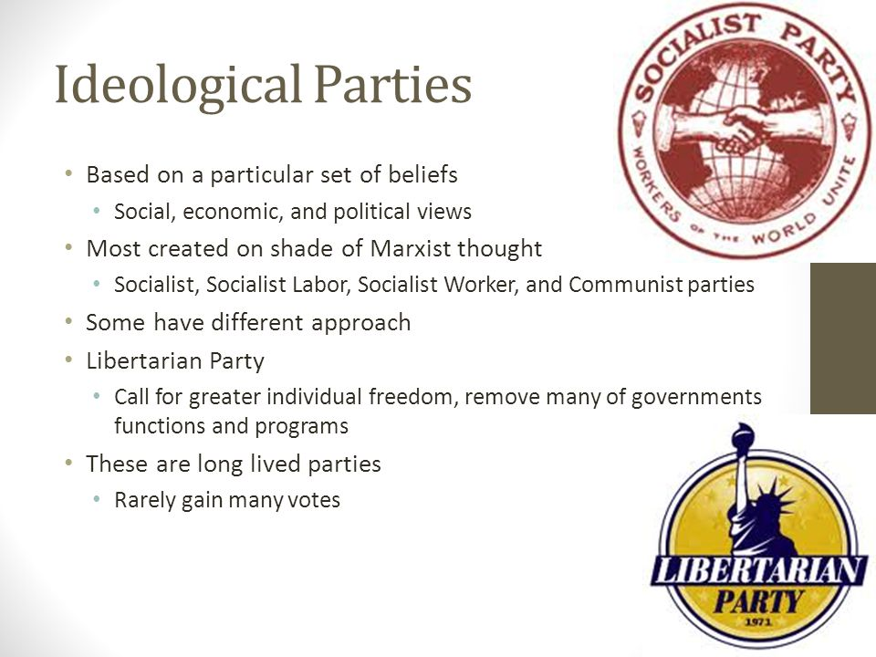 Ideological Parties Based on a particular set of beliefs Social, economic, and political views Most created on shade of Marxist thought Socialist, Socialist Labor, Socialist Worker, and Communist parties Some have different approach Libertarian Party Call for greater individual freedom, remove many of governments functions and programs These are long lived parties Rarely gain many votes