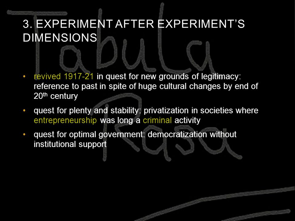 3. EXPERIMENT AFTER EXPERIMENT'S DIMENSIONS revived 1917-21 in quest for new grounds of legitimacy: reference to past in spite of huge cultural change