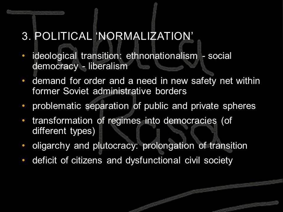 3. POLITICAL 'NORMALIZATION' ideological transition: ethnonationalism - social democracy - liberalism demand for order and a need in new safety net wi