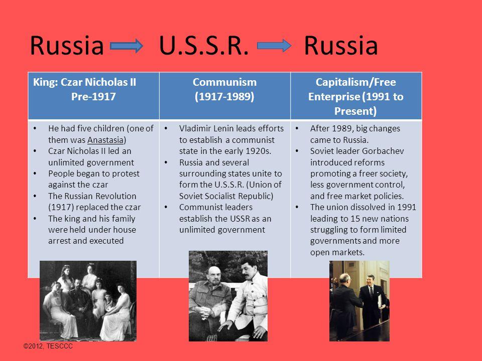 Russia U.S.S.R. Russia King: Czar Nicholas II Pre-1917 Communism (1917-1989) Capitalism/Free Enterprise (1991 to Present) He had five children (one of