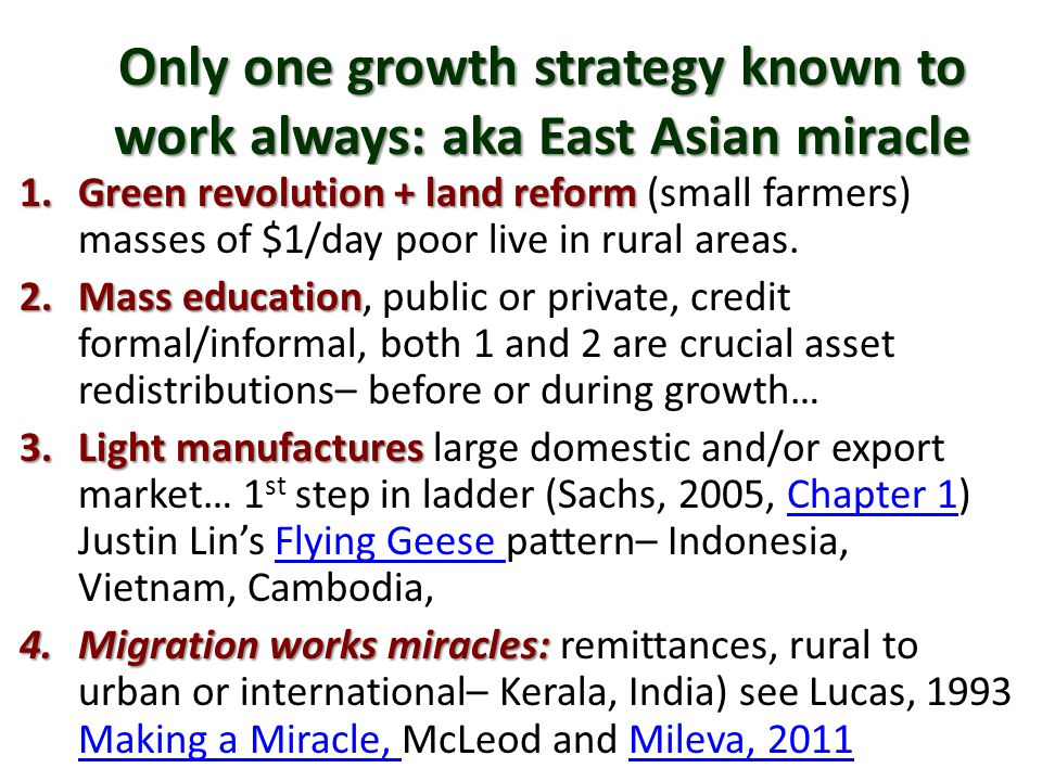 Only one growth strategy known to work always: aka East Asian miracle 1.Green revolution + land reform 1.Green revolution + land reform (small farmers) masses of $1/day poor live in rural areas.