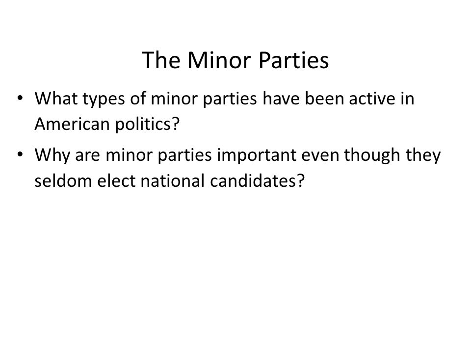 Minor Parties in the United States Year Party Presidential Percent Electoral Candidate Popular Votes Vote Received 1948 States' Rights Strom Thurmond 2% 39 (Dixiecrat) 1948 Progressive Henry A.