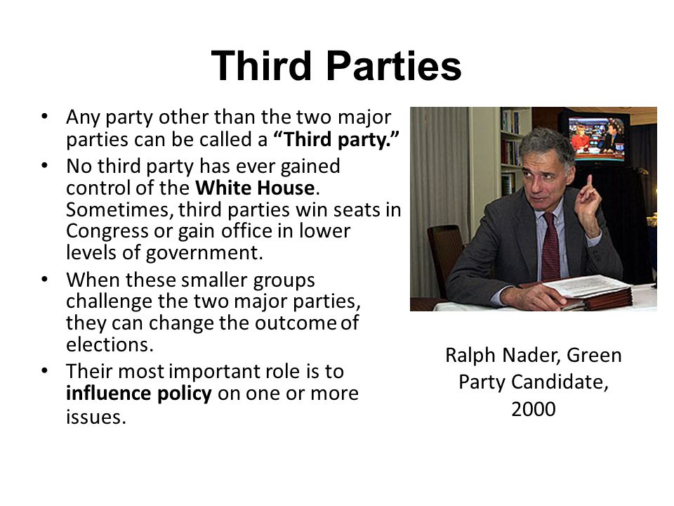 Third Parties at the Turn of the Century In the late 1800s, the People's Party, or Populists became popular.