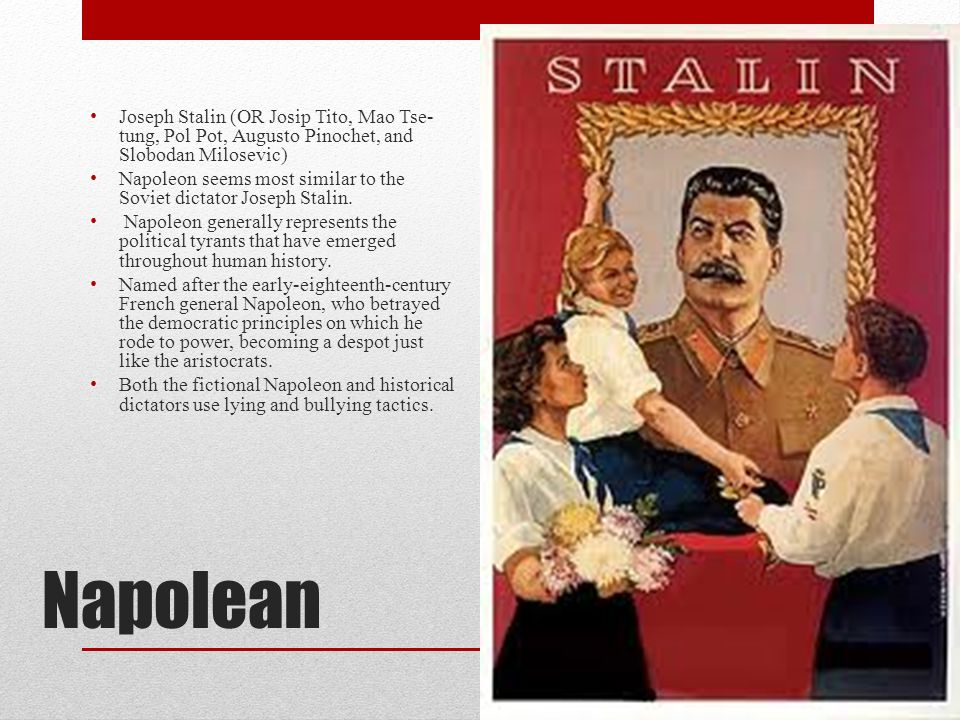 Napolean Joseph Stalin (OR Josip Tito, Mao Tse- tung, Pol Pot, Augusto Pinochet, and Slobodan Milosevic) Napoleon seems most similar to the Soviet dic