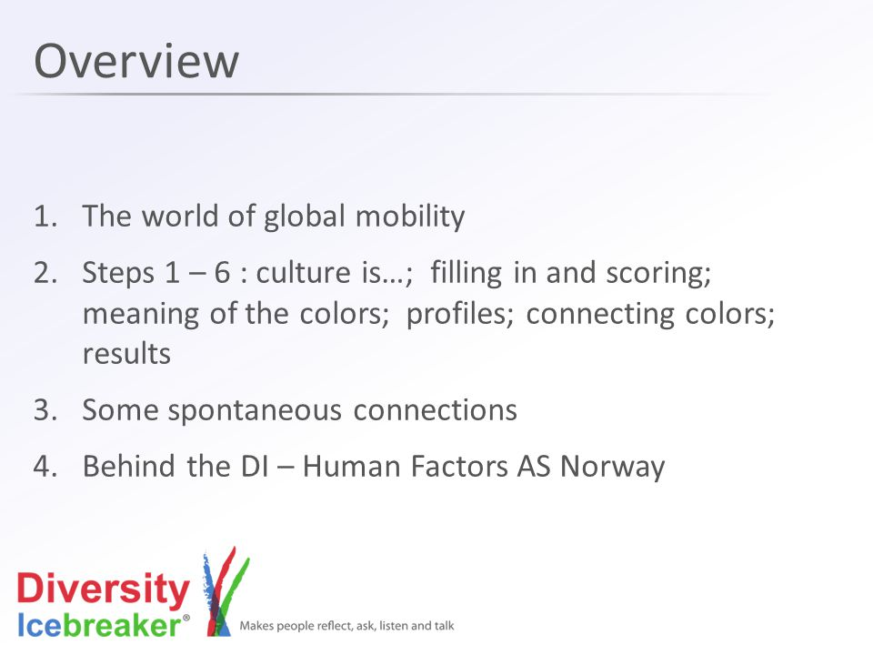 Overview 1.The world of global mobility 2.Steps 1 – 6 : culture is…; filling in and scoring; meaning of the colors; profiles; connecting colors; resul