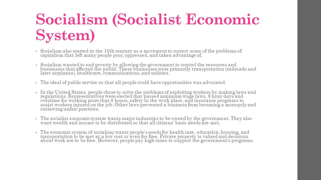 Design a chart that compares and contrasts the ways that people organize goods and services in Free Enterprise, Communist Economic System, and Socialist Economic System.