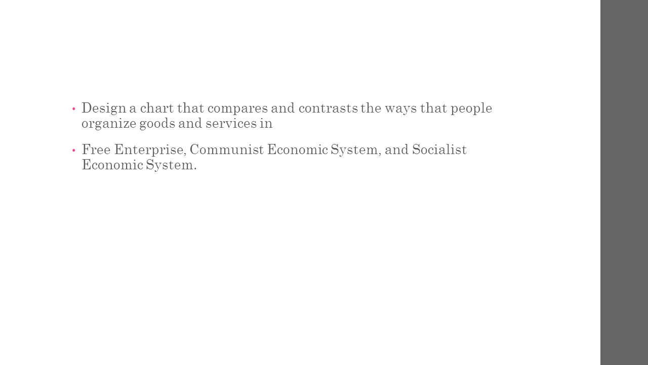 6.9 Economics.The student understands the various ways in which people organize economic systems.