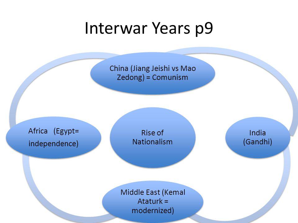 Interwar Years p9 Rise of Nationalism China (Jiang Jeishi vs Mao Zedong) = Comunism India (Gandhi) Middle East (Kemal Ataturk = modernized) Africa (Eg