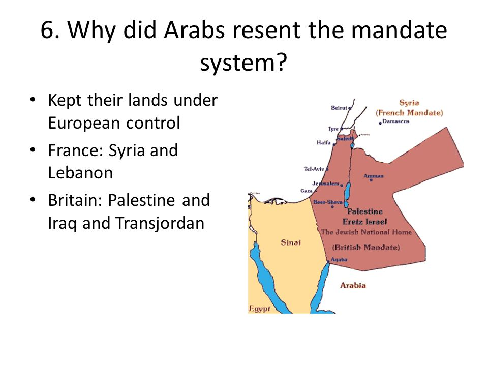 6.Why did Arabs resent the mandate system.