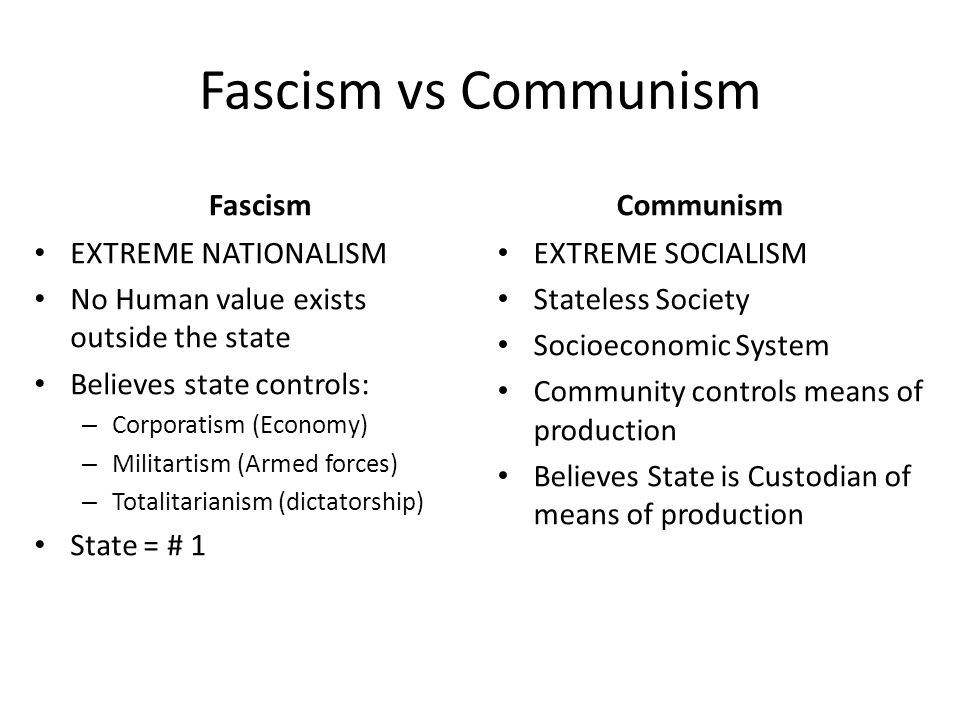 Fascism vs Communism Fascism EXTREME NATIONALISM No Human value exists outside the state Believes state controls: – Corporatism (Economy) – Militartism (Armed forces) – Totalitarianism (dictatorship) State = # 1 Communism EXTREME SOCIALISM Stateless Society Socioeconomic System Community controls means of production Believes State is Custodian of means of production