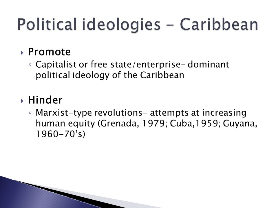  Promote ◦ Capitalist or free state/enterprise- dominant political ideology of the Caribbean  Hinder ◦ Marxist-type revolutions- attempts at increasing human equity (Grenada, 1979; Cuba,1959; Guyana, 1960-70's)