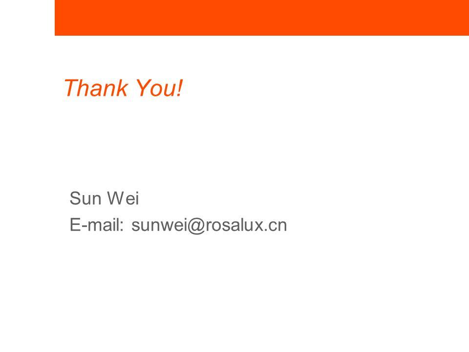 Thank You! Sun Wei E-mail: sunwei@rosalux.cn