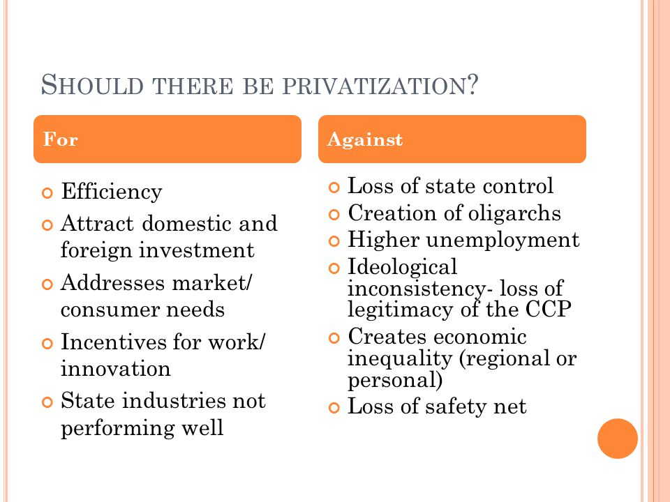 S HOULD THERE BE PRIVATIZATION .