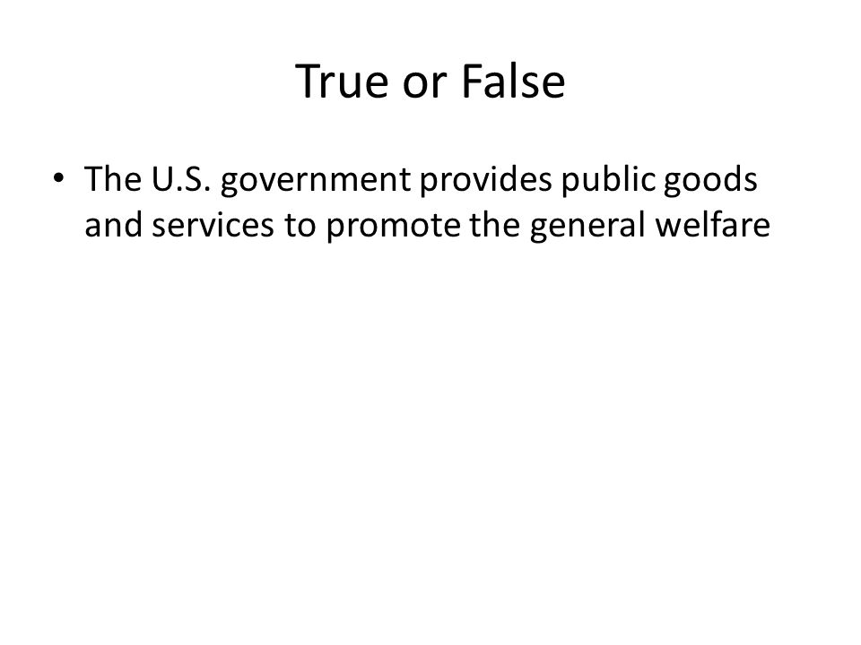 True or False The U.S. government provides public goods and services to promote the general welfare