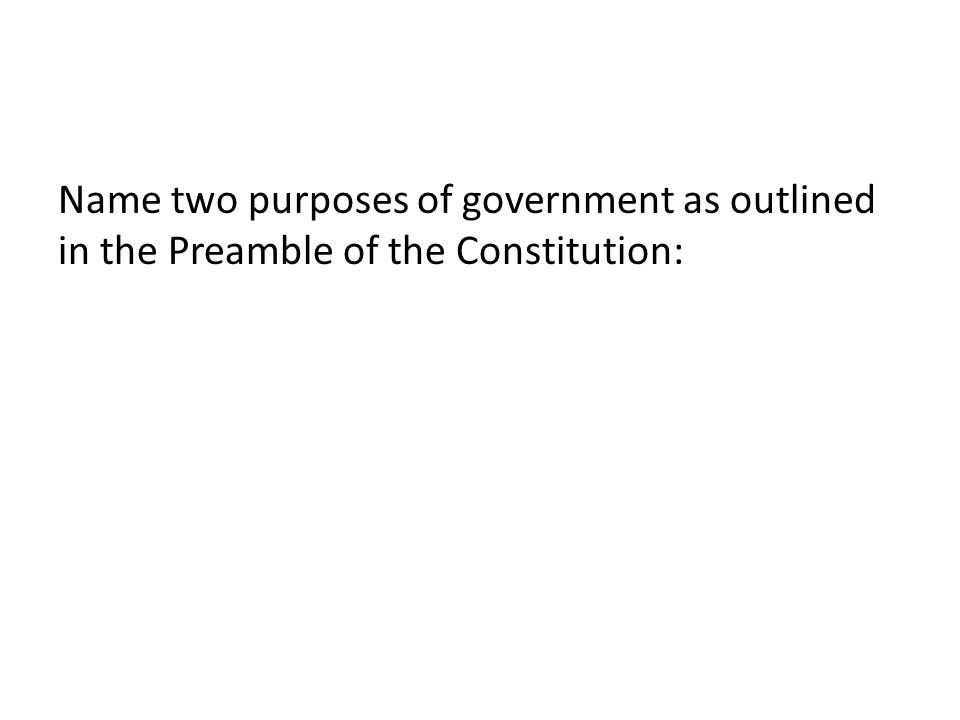 Name two purposes of government as outlined in the Preamble of the Constitution: