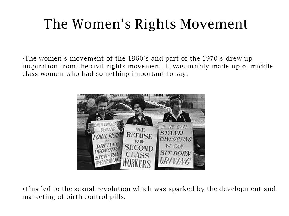 Continuation of the Women's Rights Movement This led to the fallout of which made it illegal to discriminate against someone based on gender and race.