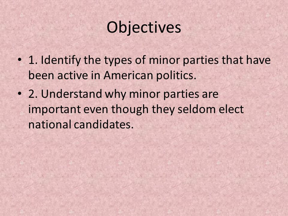 Objectives 1.Identify the types of minor parties that have been active in American politics.