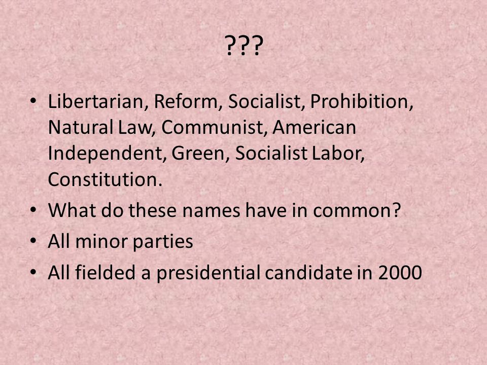 ??? Libertarian, Reform, Socialist, Prohibition, Natural Law, Communist, American Independent, Green, Socialist Labor, Constitution. What do these nam