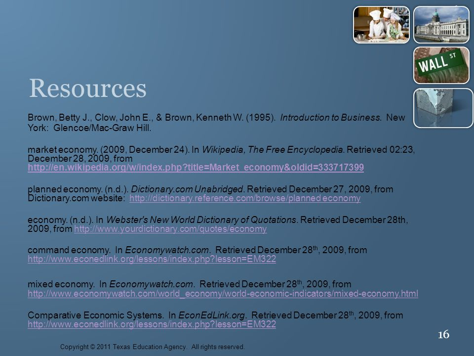 16 Resources Brown, Betty J., Clow, John E., & Brown, Kenneth W.